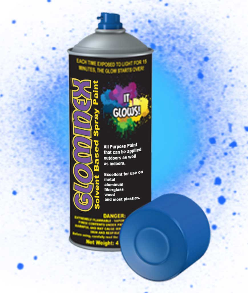 glominex glow spray paint 4oz invisible day blue. Black Bedroom Furniture Sets. Home Design Ideas
