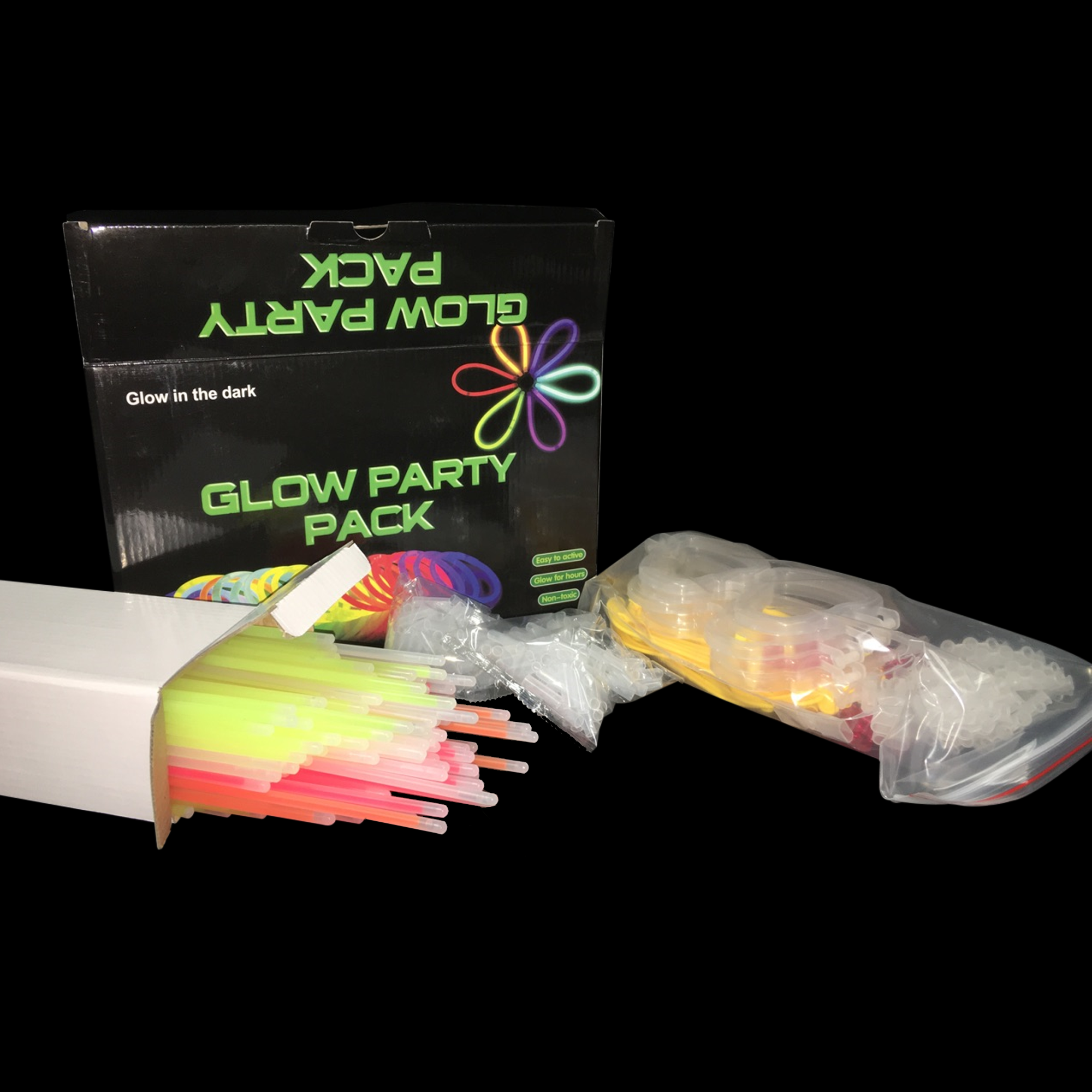 8 Inch Glow Party Pack - 100 Count Set