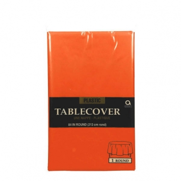 Orange Peel Round 84 in. Plastic Table Cover