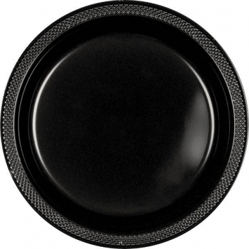 Jet Black Plastic Plates 10.25 in
