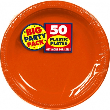 Orange Peel Big Party Pack 10.25 in. Plastic Plates 50ct