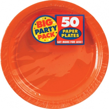 Orange Peel Big Party Pack 9 in. Paper Plates 50ct