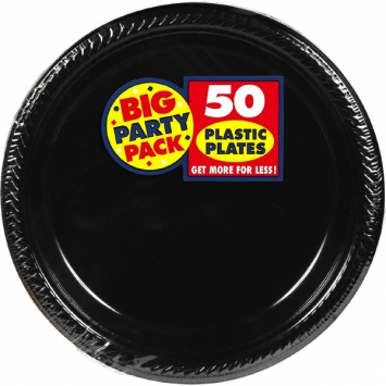 Jet Black Big Party Pack Plastic Plates 10.25 in