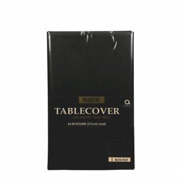 Jet Black Round Plastic Table Cover 84 in