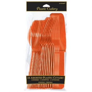 Orange Peel Assorted Plastic Cutlery 24ct