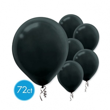 Black Solid Color Latex Balloons - Packaged 72ct