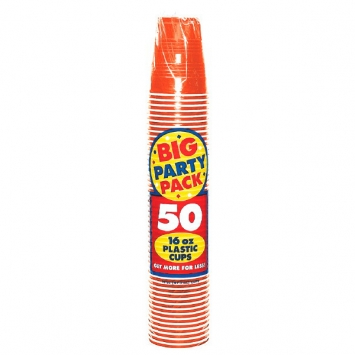 Orange Peel Big Party Pack 16 oz Plastic Cups 50ct