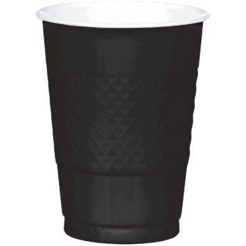 Jet Black Plastic Cups 16 oz.