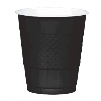 Jet Black Plastic Cups 12 oz.