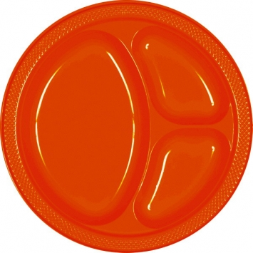 Orange Peel Divided 10.25 in. Plastic Plates 20ct
