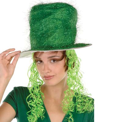 Tinsel Top Hat with Curly Wig