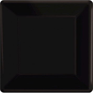 Jet Black Square Paper Plates 7in 20ct