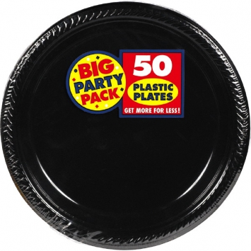 Jet Black Big Party Pack Plastic Plates 7 in