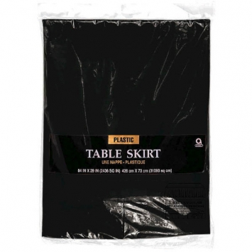 Jet Black Solid Color Plastic Table Skirt 14' x 29