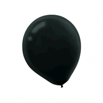 Black Solid Color Latex Balloons - Bulk 12