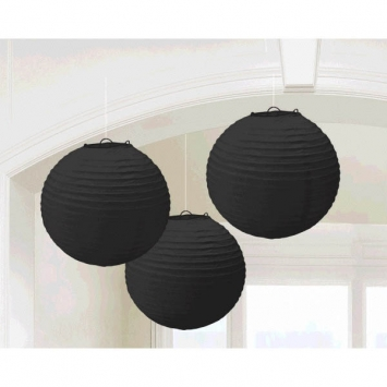 Jet Black Round Paper Lanterns 9.5 in