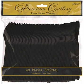 Jet Black Premium Heavy Weight Plastic Spoons 48ct