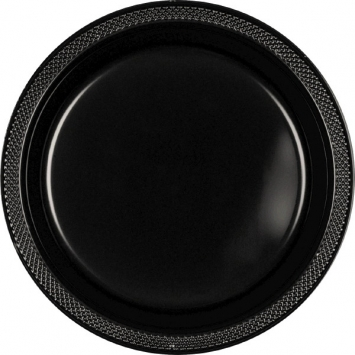 Jet Black Plastic Plates 9 in