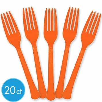 Orange Peel Premium Heavy Weight Plastic Forks 20ct