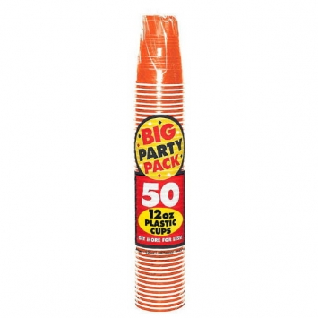Orange Peel Big Party Pack 12 oz Plastic Cups 50ct