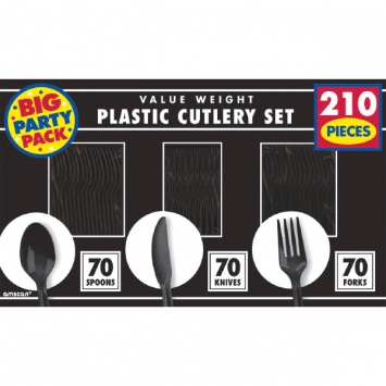 Jet Black Value Window Box Cutlery Set 210ct
