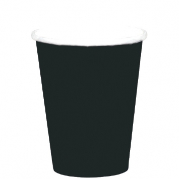 Jet Black Paper Cups 9oz. 8ct