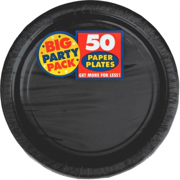 Jet Black Big Party Pack Paper Plates 9 in
