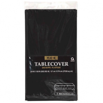 Jet Black Rectangular Plastic Table Cover 54 x 108in