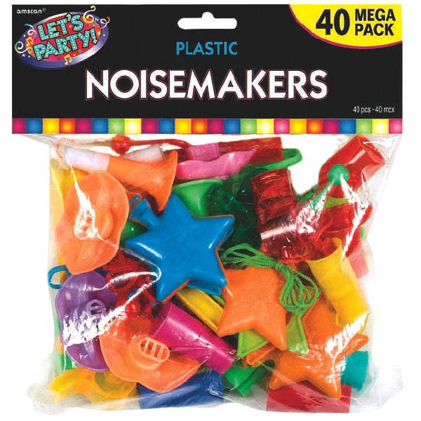Colorful Plastic Noise Makers Value Pack 40ct