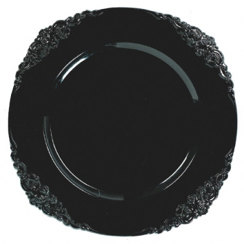 Black Plastic Motif Charger 13 in.
