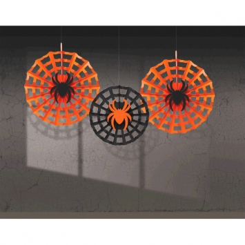 Spider Web Fan with Spiders 3ct