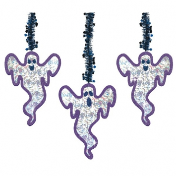 Ghost Prismatic Tinsel Hanging Decoration 3ct