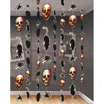 Creepy Carnival Printed Paper String Decorations 8ct