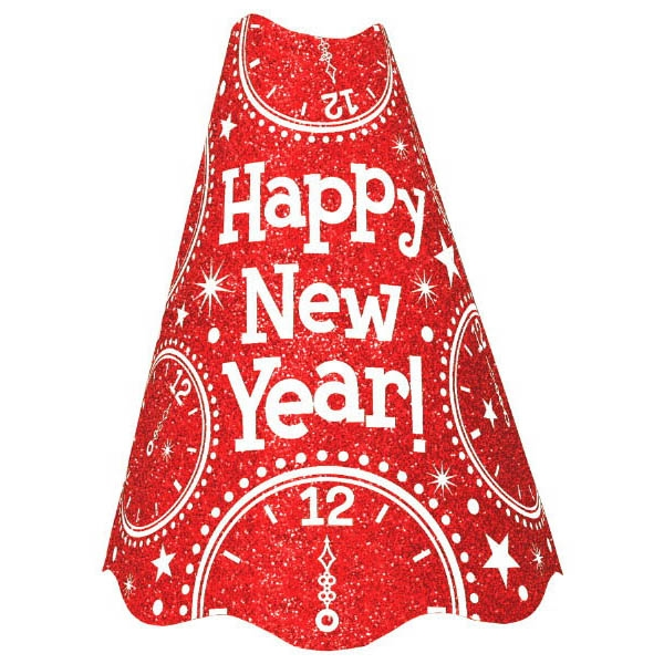 New Year's Glitter Paper Cone Hat - Red