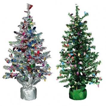 Tinsel Christmas Tree Centerpiece - 19 Inch