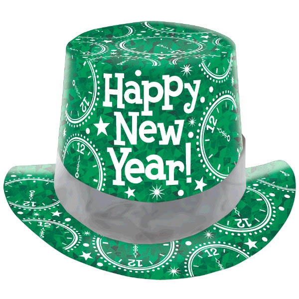 New Year's Prismatic Paper Top Hat - Green