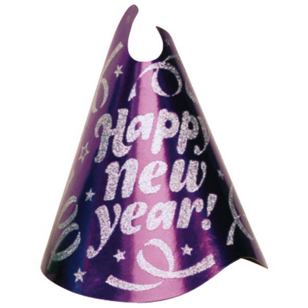 Glitter Foil Cone Hat - Purple