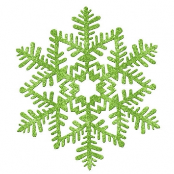 Small Glitter Plastic Snowflake Decoration- Green