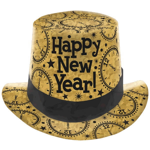 New Year's Prismatic Paper Top Hat - Gold
