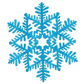 Small Glitter Plastic Snowflake Decoration- blue
