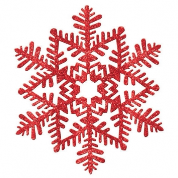 Small Glitter Plastic Snowflake Decoration- Red