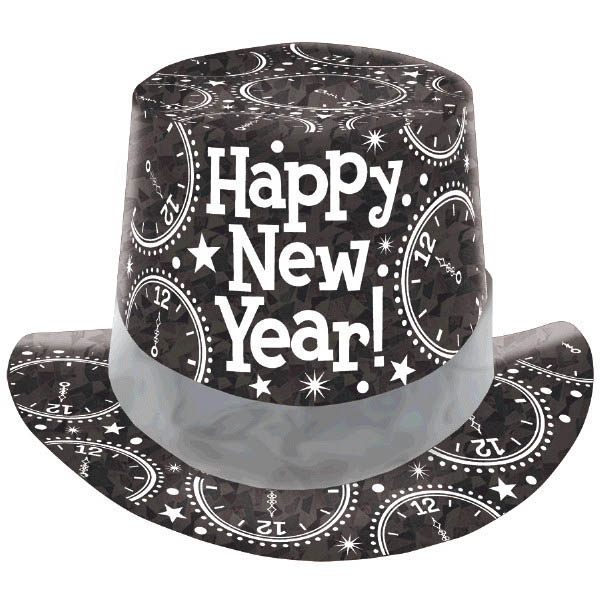 New Year's Prismatic Paper Top Hat - Black