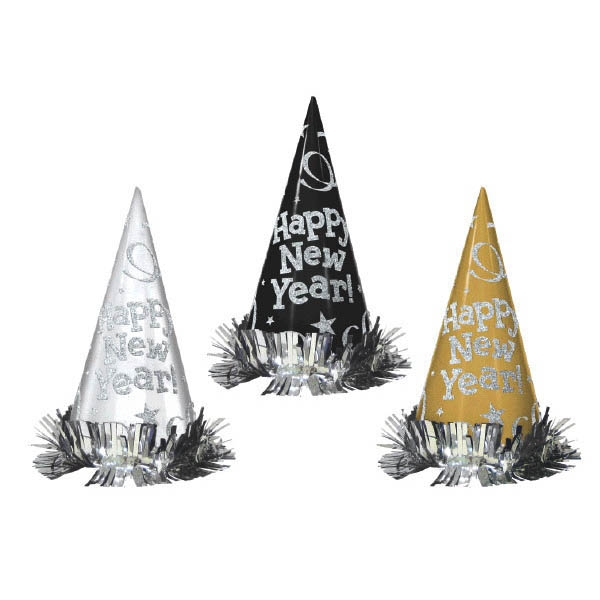 Metallic Glitter Paper Cone Hats - Black Silver Gold