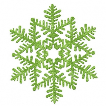 Large Glitter Plastic Snowflake Decoration- Green