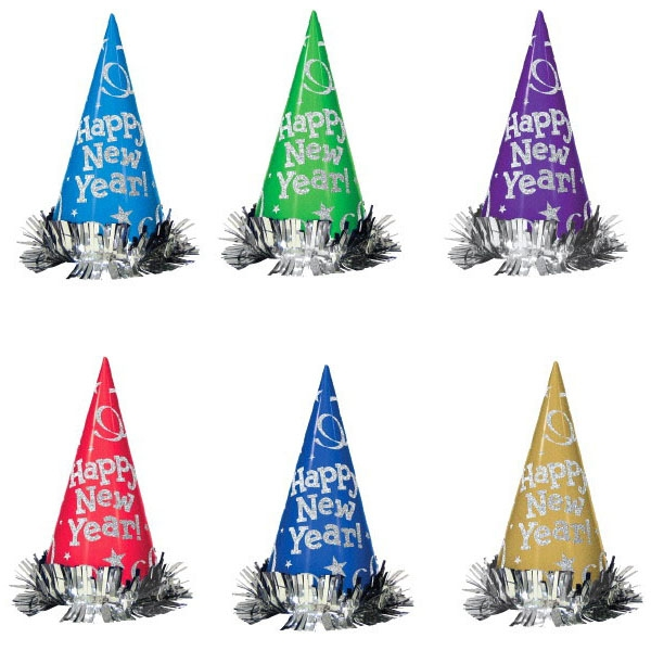 Metallic Glitter Paper Cone Hats - Assorted Colors