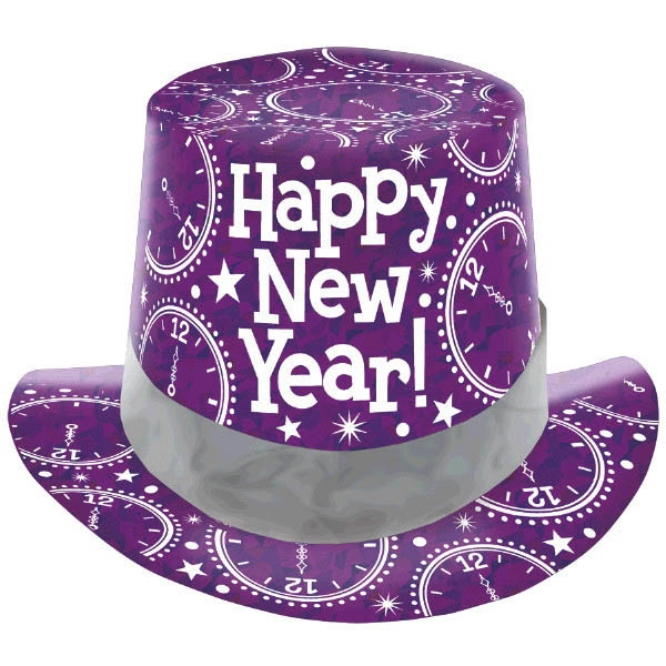 New Year's Prismatic Paper Top Hat - Purple