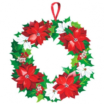 Christmas Die Cut Glitter Paper Wreath