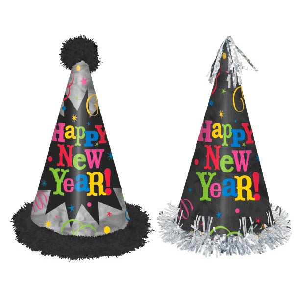 Midnight Celebration Cone Hat Assortment Deluxe Marabou & Foil - Jewel Tones