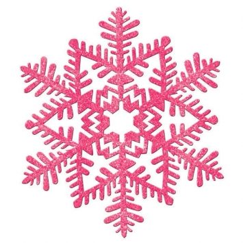 Large Glitter Plastic Snowflake Decoration- Pink