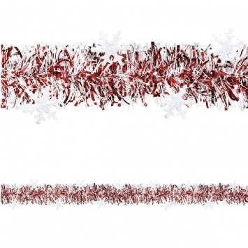 Red & White Tinsel with Glitter Snowflakes 9ft